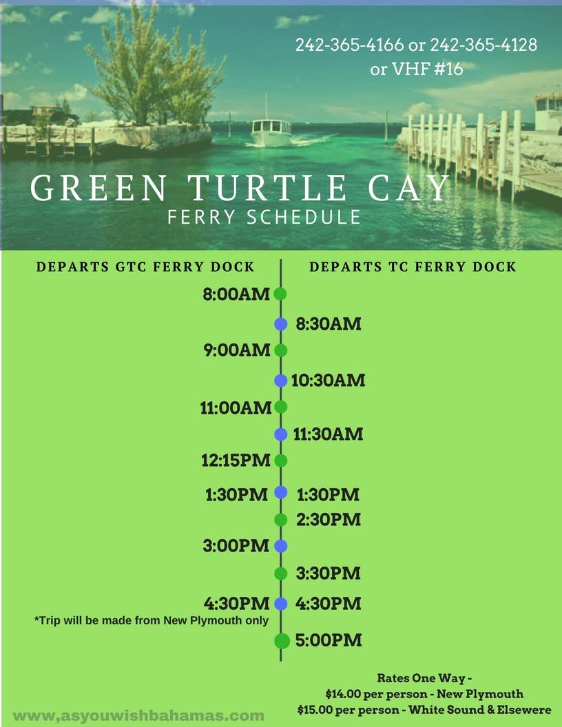 Green Turtle Cay Ferry Schedule