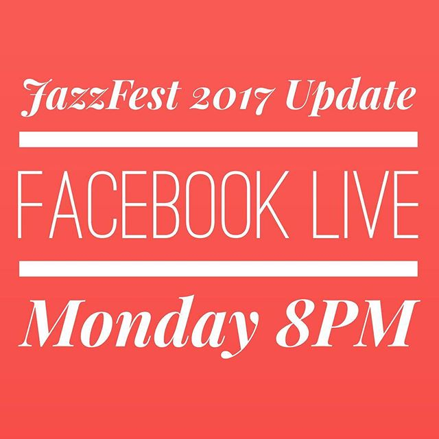 Join JazzFest Executive Director @bryantuk tomorrow 8pm on Facebook for a live update about JazzFest 2017.