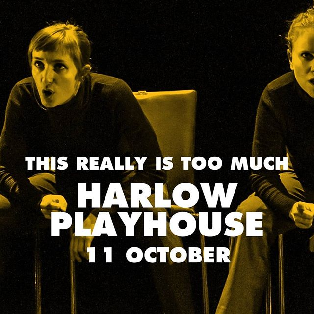 "We're at @harlowplayhouse tonight at 8pm with our #awardwinning  piece #thisreallyistoomuch  Three Weeks rated the piece 🌟 🌟 🌟 🌟 🌟 And called it a ""remarkable, genre-defying performance, superbly written and fantastically performed"" during our #edinburghfringe run last year so you know it's bound to be good!  #Harlow #feminism #dancetheatre #uktour #leedsartist #salad #steelydan #stilettos #theatre #ticketsstillleft #foolsontheroad #theatregoers #dancer"