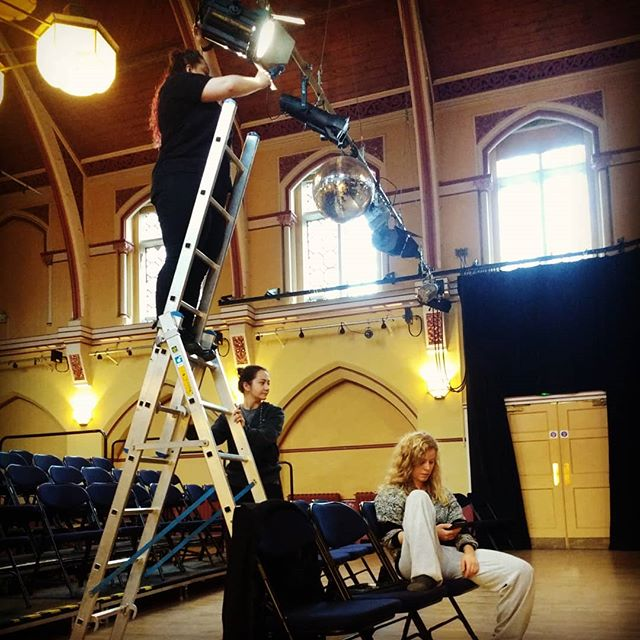 Last ever performance of #thisreallyistoomuch ? Molly is being a boss a sorting out lights despite no in house tech person. Just look at that ladder. Epic.  #oldschool