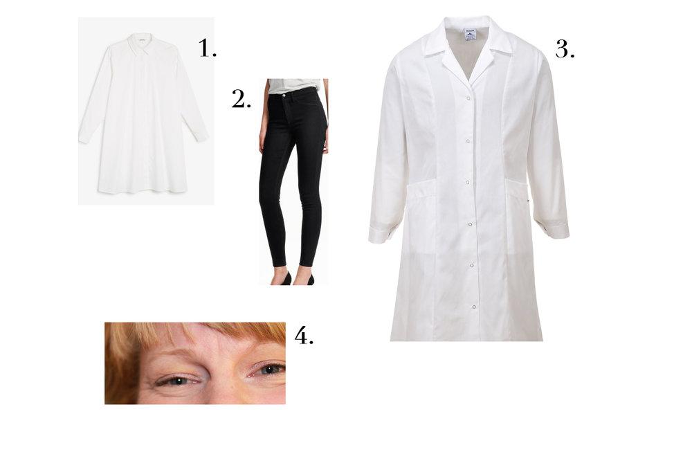 1. Klänning från Monki,  400 kr . 2. Svarta jeans från H&M,  99 kr . 3. Läkarrock från Tingstad,  238 kr . 4. Snälla ögon - viktigt!!!