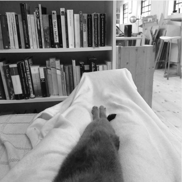 Lyra Koli slappandes med katten Albus.