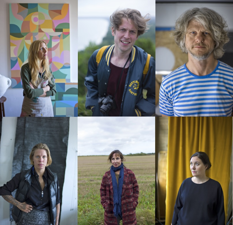 Uppe fr. v: Liselotte Watkins, Simon Stålenhag, Jacob Dahlgren.  Nere fr. v: Linnea Sjöberg, Klara Kristalova, Helena Blomqvist.  Foto: SVT.