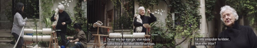 Sheila Hicks pratar om... barn och pojkar i förhållande till... garn?  Skärmdump från SVT.