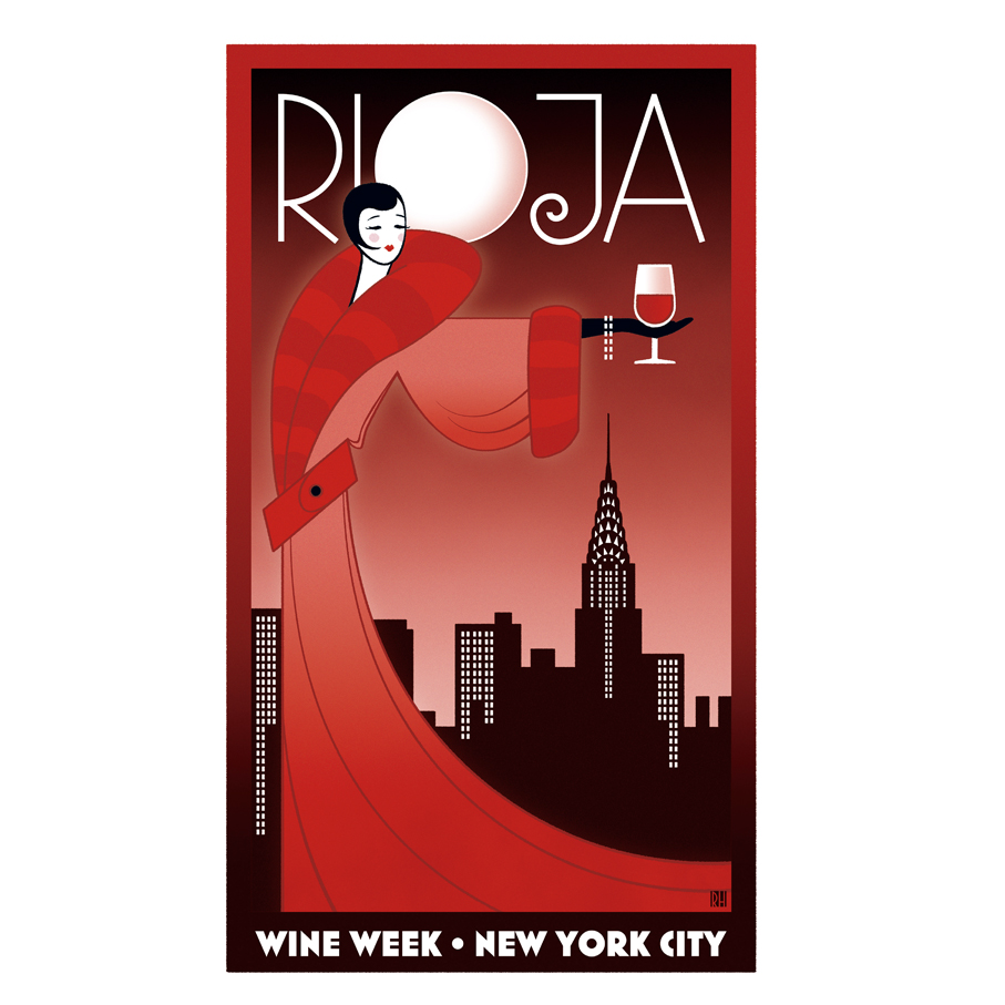 Ny wine weekart deco poster for new york wine week