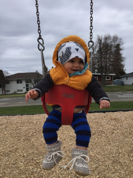 First time on a swing! Hello, Spring!