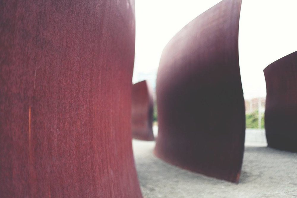 One of our favorite pieces at the Olympic Sculpture Park,  Wake , by American artist Richard Serra, was created with computer imaging and machines that manufacture ship hulls.