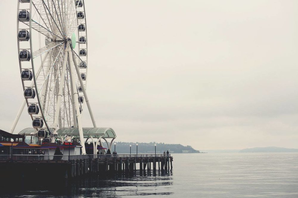 The Great Wheel on the Seattle waterfront, offering incredible panoramic views of the entire city.