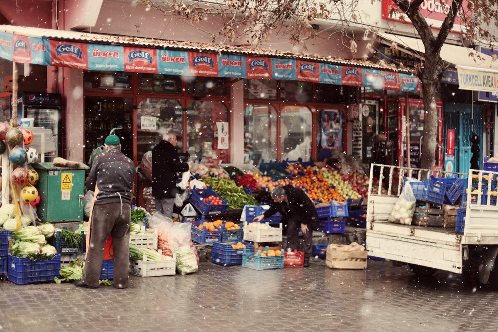 The center of Battalgazi. Even in the winter, the town square still sells fresh produce.