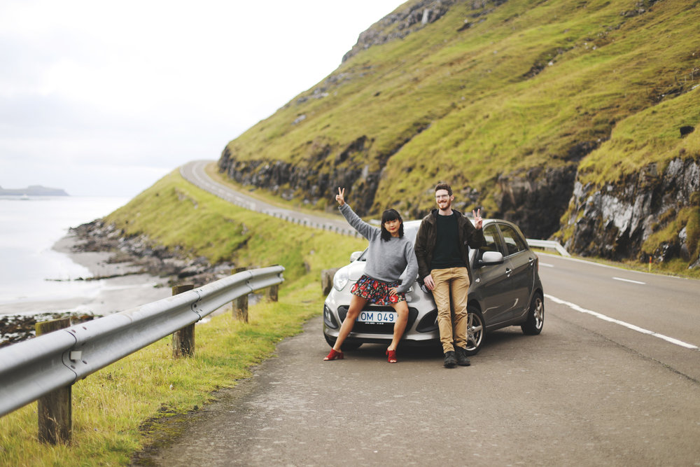 A quick pose with the rental car that got us all around the many islands of the Faroes.