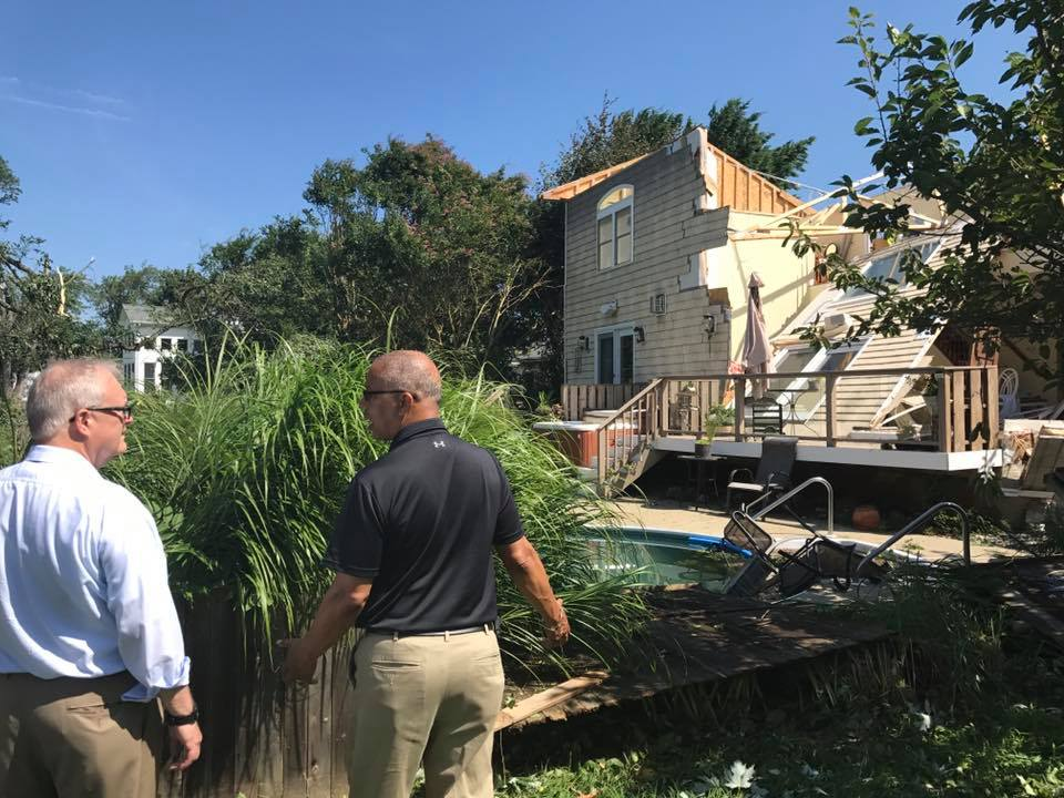Lt. Governor Boyd Rutherford surveys the damage
