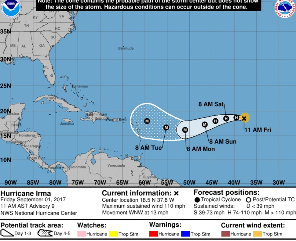 Hurricane Irma Expected to Remain Powerful in Atlantic for Days