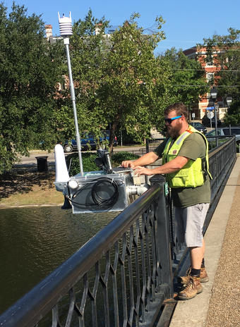 A rapid-deployment tide gauge is added during Tropical Storm Jose.         Photo: Howard Ross, USGS