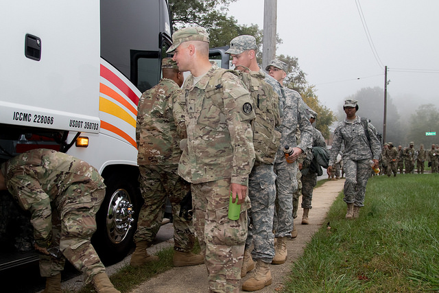 Maryland National Guard members deploy from Catonsville, Maryland