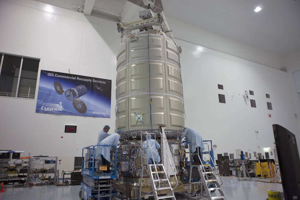 The Cygnus spacecraft, loaded with supplies