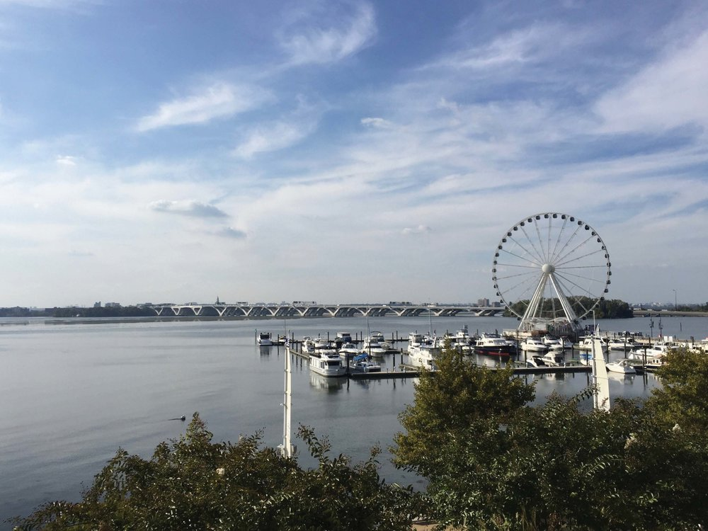 The distinctive Capital Wheel marks the approach to National Harbor. Photo by Jody Argo Schroath.