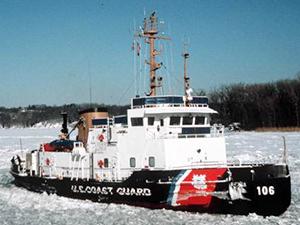 One of the Coast Guard's ice breaker boats