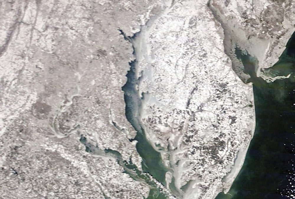 Satellite view taken from Feb. 20, 2015, shows the iced up northern Chesapeake.
