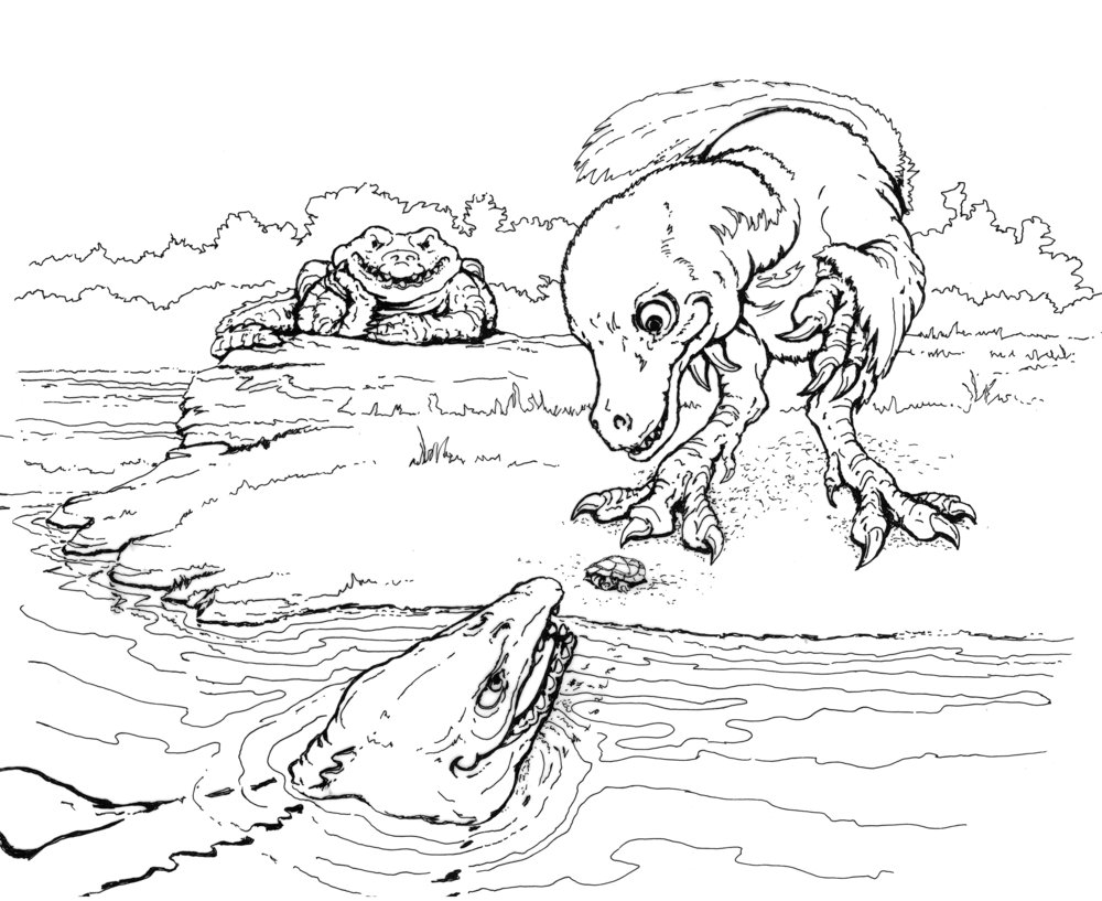 The three most likely predators that could have swallowed the baby side-necked turtle completely. Illustration by Tim Scheirer, © Calvert Marine Museum.