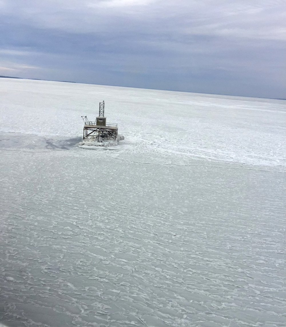 The mouth of the Chester River at Rock Hall, photo from Md. Natural Resources Police helicopter
