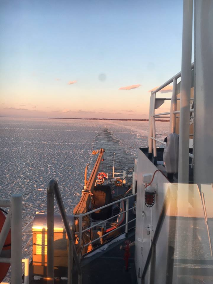 Sunrise on Upper Bay, photo from USCG ice breaker Rankin