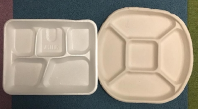 Styrofoam school trays (left) will be replaced by compostable trays.