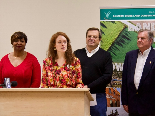 From left: Cambridge mayor Victoria Jackson-Stanley, ESLC Director of Conservation Katie Parks White, Dorchester County Council President Ricky Travers, and Dennis Carmichael of Parker Rodriguez