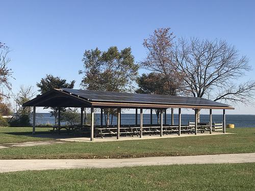 Sandy Point's picnic pavilions now have solar panels.