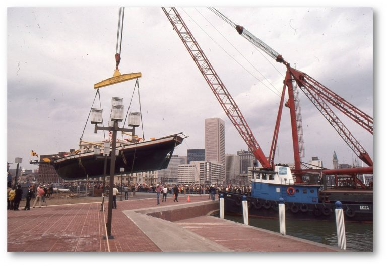Pride of Baltimore's bare hull being launched in 1977