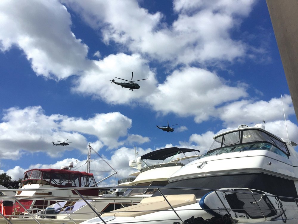 Boating in Washington D.C. comes with its own unique scenery—including, but not limited to, military helicopters.  hotos by Jody Argo Schroat