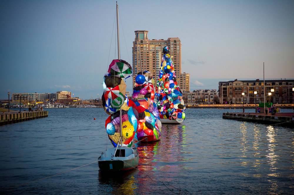 This 2017 installation turned moored sailboats into art.