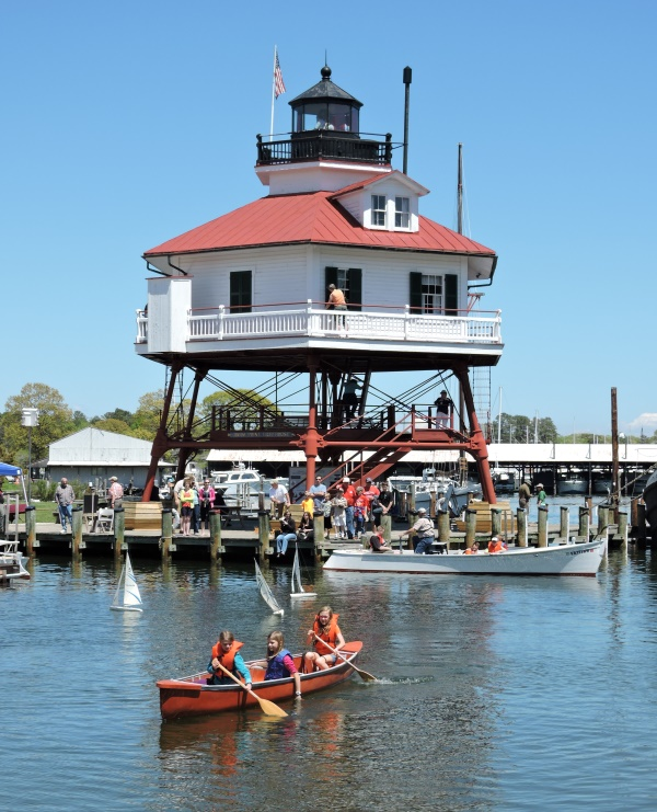 Paddling and models in the boat basin.