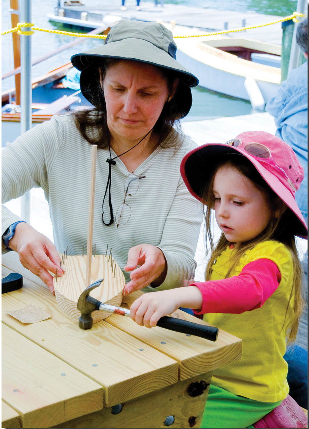 Toy boat building at the Festival.