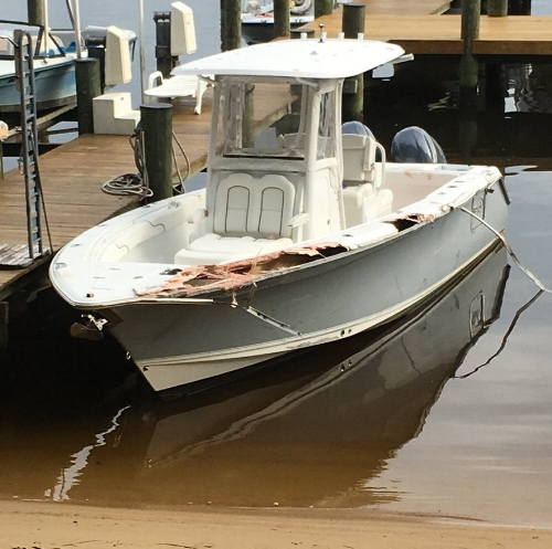 Damage to the boat that crashed into a marker on the Severn River, killing Daniel Youngblood, 51. Photo: Maryland Natural Resources Police