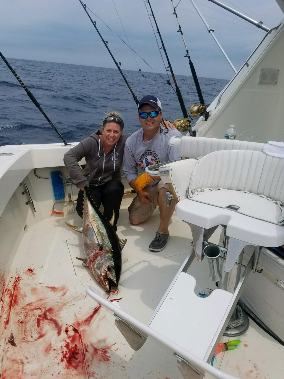 Jen Garmer, left, with Capt. Karl Roscher. Photo courtesy of Capt. Roscher