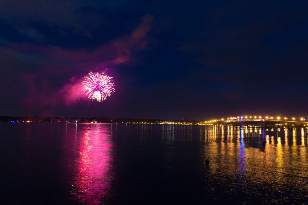 Fireworks over the York River. Photo: York County Tourism Development