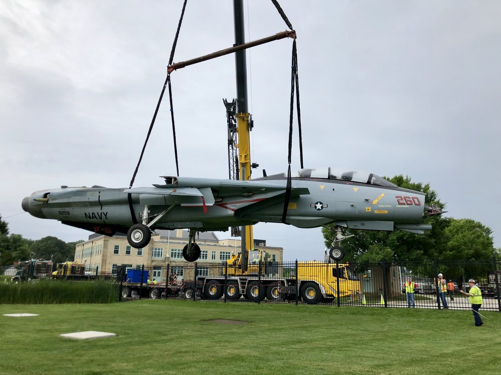 An F-14 Tomcat fighter plane finds a new home at the Naval Academy. Photo Courtesy Mark Mhley