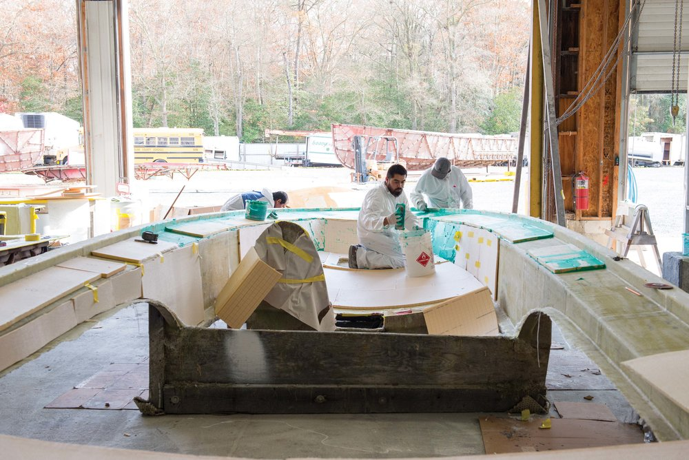 Mathews Brothers Boats—Building an Eastport 32 deck.  Photo by Joe Evans