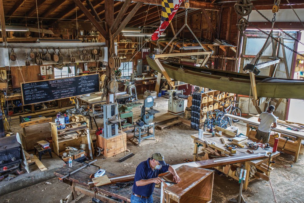 Below:  A bird's-eye view of Scofield's Chesapeake Bay Maritime Museum boat shop work space.