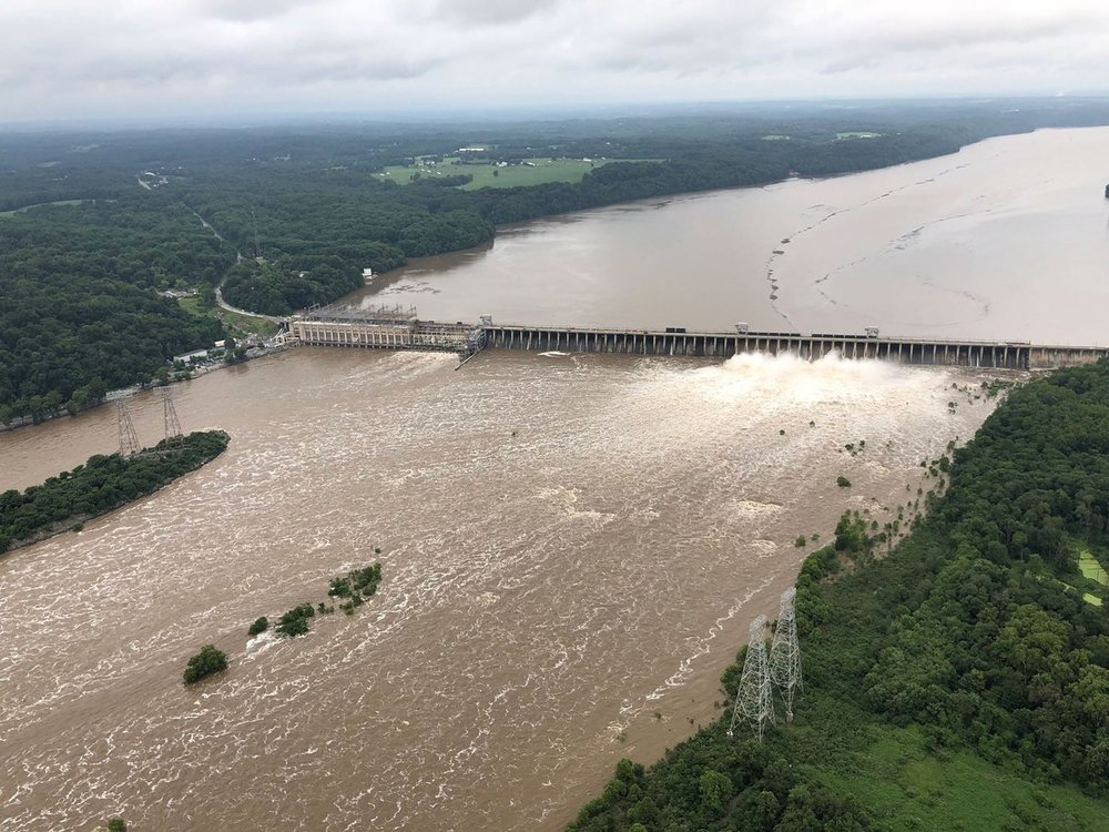 17 gates of the Conowingo Dam have been opened to handle record flow. Photo: Jeff Long, AvoidingHighways.com