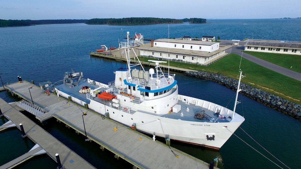 Freedom Star , a former NASA recovery ship, is used for training at the Paul Hall Center for Maritime Training and Education in Piney Point, Md.  Photo by:   Paul Hall Maritime Center