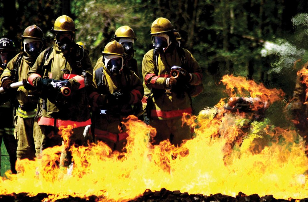 Students at the Maritime Institute of Technology and Graduate Studies learn firefighting techniques.  Photo by:Maritime Institute of Technology and Graduate Studies