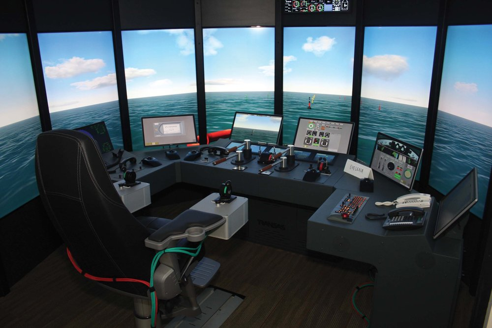 Full ship bridge helm simulator at the  Paul Hall Maritime Center.  Photo by: Paul Hall Maritime Center