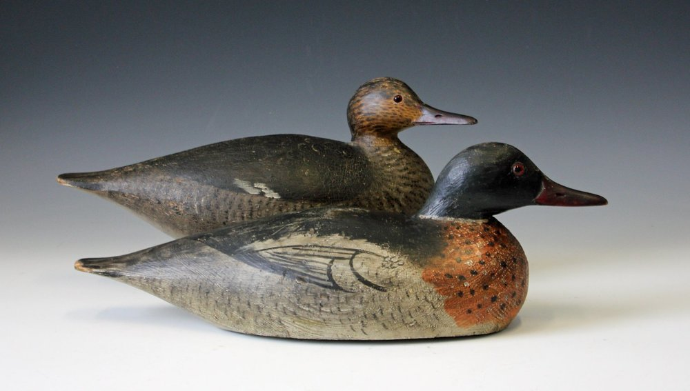 Elmer Crowell of Massachusetts carved this merganser pair.