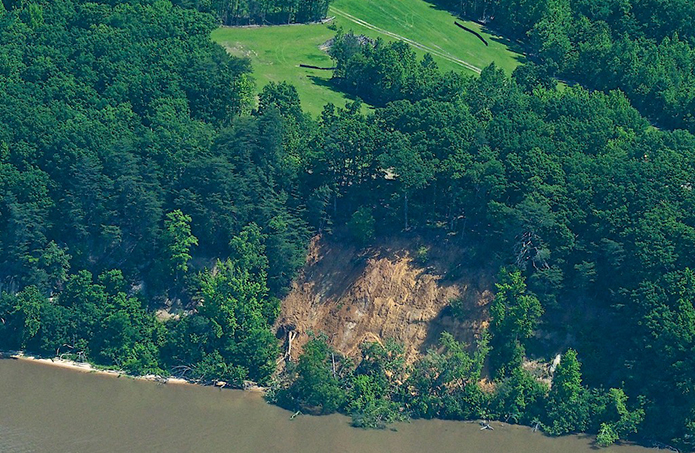 An aerial photo taken on May 24 shows the proximity of a landslide at Fones Cliffs to an area that was cleared of trees in the fall of 2017 without the needed permits. River advocates are concerned that the clearing contributed to the landslide, but regulators said it is difficult to pinpoint an exact cause at a site where several factors contribute to erosion. (Courtesy of Friends of the Rappahannock)
