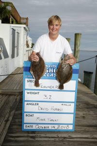 Junior angler David Herbst won his division with a 3.40-pound flounder. (Photo courtesy of  fishing.com )