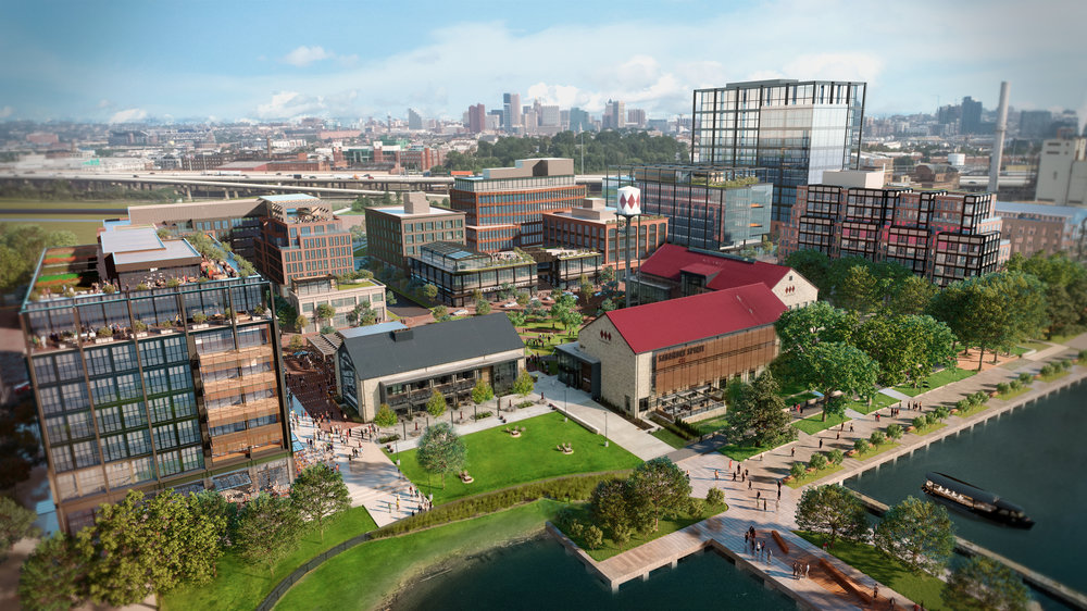 A rendering of the Port Covington redevelopment by Weller Development Company