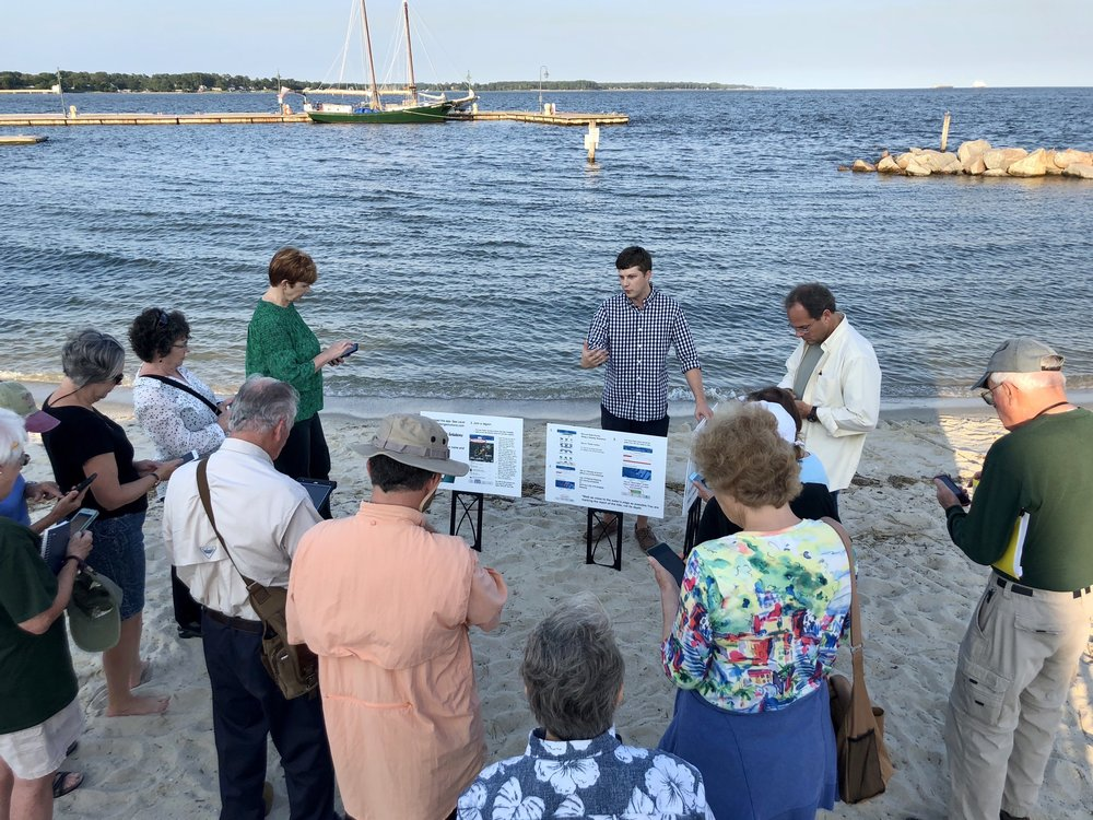 "Dr. Loftis of VIMS leads a training session on the Yorktown waterfront for volunteers registered for this year's ""Catch the King."" Photo: D. Malmquist/VIMS."