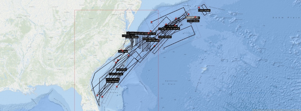 This USCG graphic shows the combined search patterns conducted by Coast Guard and Navy assets Oct 26 through Nov. 5, 2018.