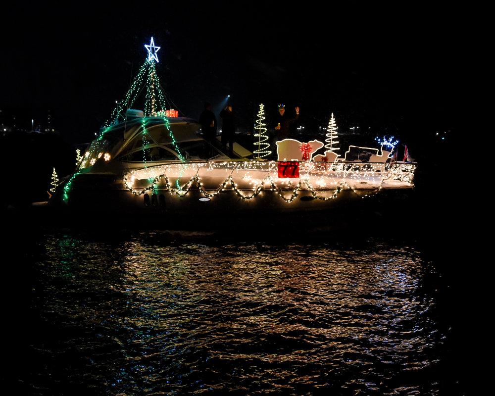 The Eastport Yacht Club Lights Parade attracts up to 40 boats of all shapes and sizes.